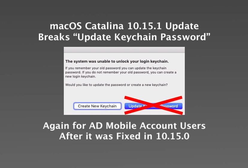"""10.15.1 Update breaks """"Update Keychain Password"""" Again! + Workaround"""